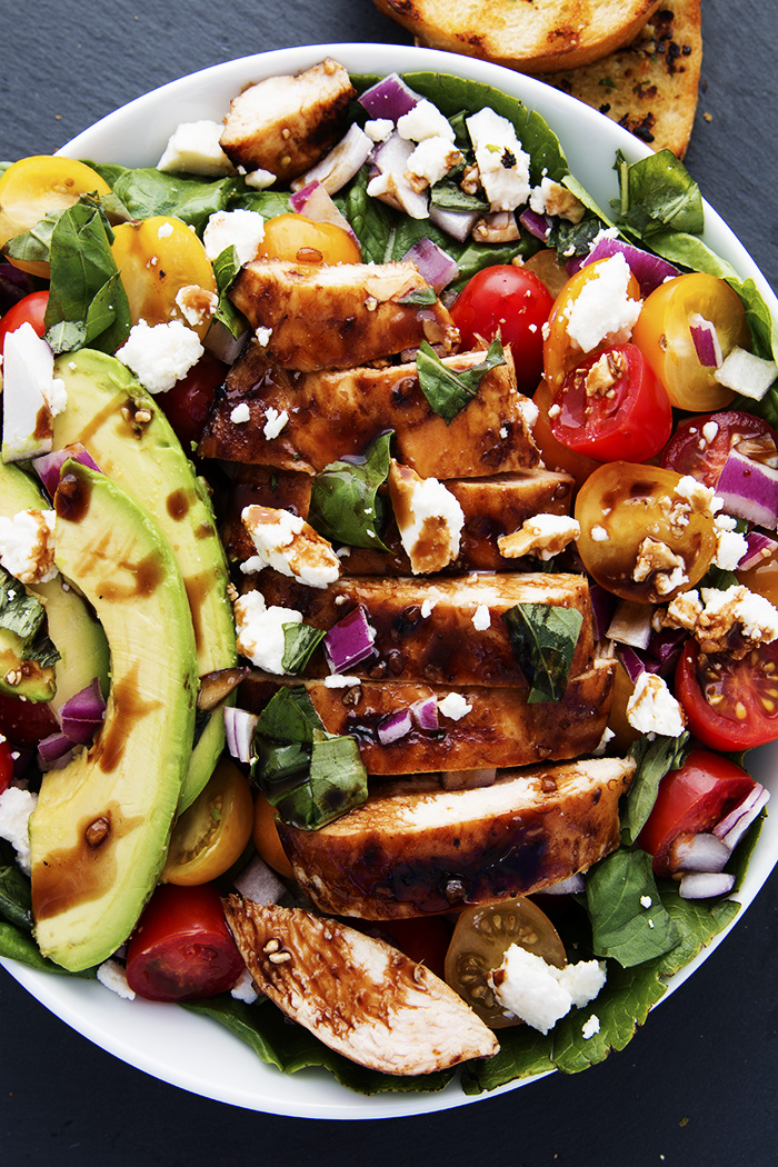 GRILLED BALSAMIC CHICKEN SALAD WITH BRUSCHETTA