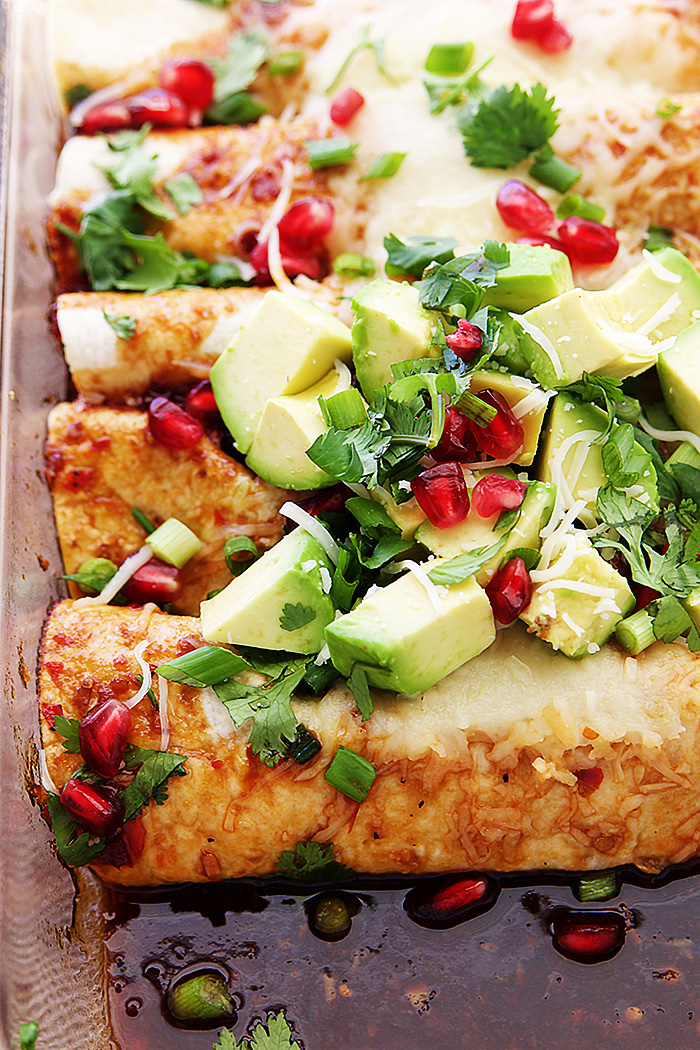Sweet and Sour Pomegranate Thai Chicken Enchiladas