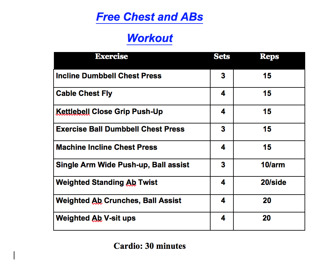 Printable Workout Chest And Abs